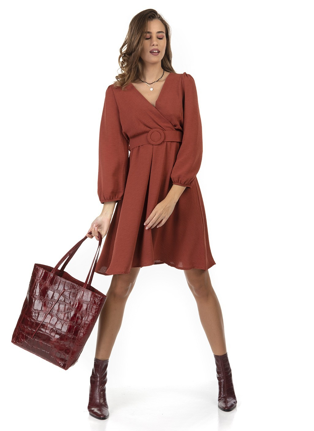 Τσάντα shopper με τύπωμα κροκό