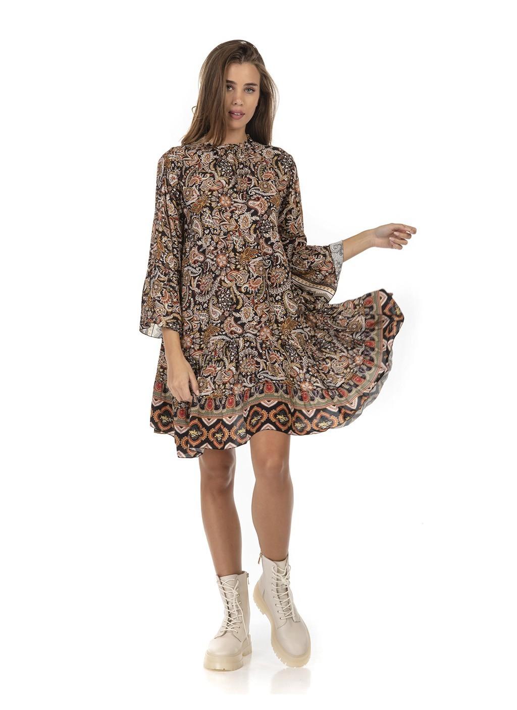 Φόρεμα κοντό φαρδύ με βολάν...